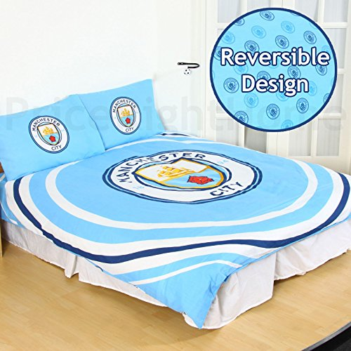 Manchester City FC Pulse 2 Piece UK Double /US Full Sheet Set, 1 x Double Sided Sheet and 2 x Pillowcases