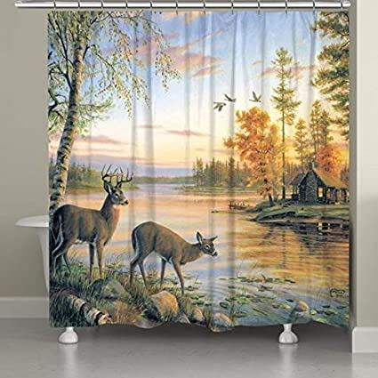 Laural Home Buck And Doe Sunset Shower Curtain