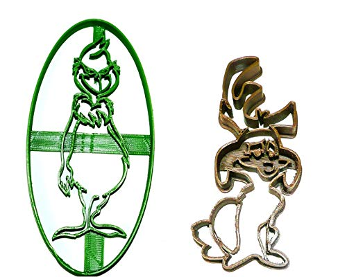 GRINCH AND HIS DOG MAX DR SEUSS CHRISTMAS CARTOON MOVIE BOOK CHARACTERS SET OF 2 SPECIAL OCCASION COOKIE CUTTERS BAKING TOOL 3D PRINTED MADE IN USA PR1118