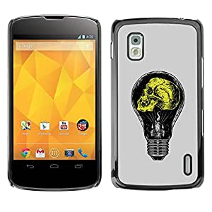 Paccase / SLIM PC / Aliminium Casa Carcasa Funda Case Cover - Grey Yellow Light Bulb Yellow Idea - LG Google Nexus 4 E960