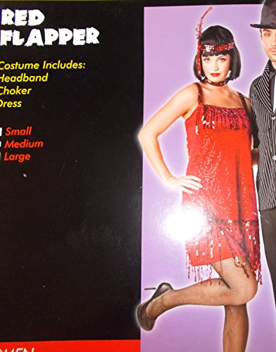 Red Flapper Adult Costume Dress Choker Small 4-6 NIP