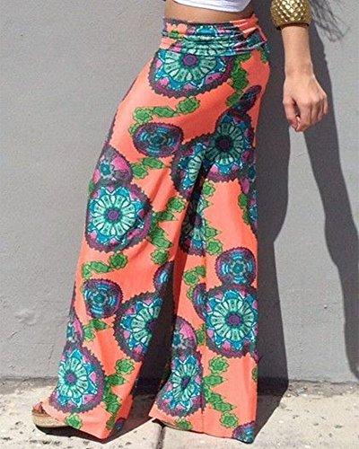 Moollyfox Vintage Mujer Pantalones Estampado Llamarada Ancho Pierna Palazzo Pantalones Color Rosa Para Mujer Como Imagen