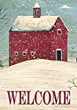 Toland Home Garden Welcome Winter 28 x 40 Inch Decorative Snowy Scene Country Barn House Flag