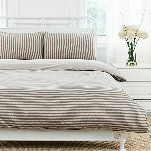 PURE ERA Duvet Cover Set Jersey Knit Cotton Brown Grey Stripe Reversible 3 Pieces Set Ultra Soft Comfy King - Classic Naked Women