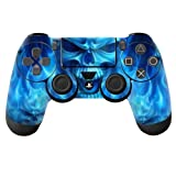 NDAD Hot 2PCS Sony PlayStation 4 Controllers Protective Vinyl Skins Decals Cover-Blue Skull Fire