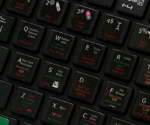 New Apple Logic 9 Keyboard Stickers ON Black Background are Compatible with Apple