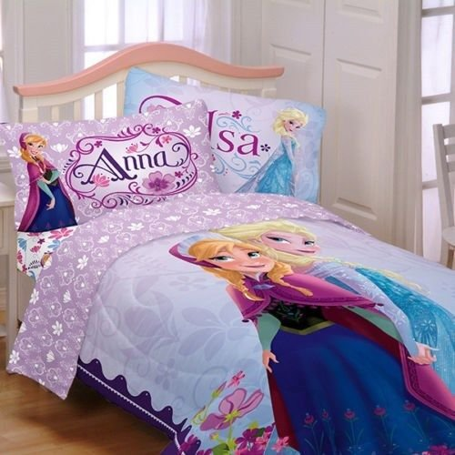 Disney's Frozen Princess Anna & Elsa Full Comforter & Sheet Set T (5 Piece Bed In A Bag) by Disney