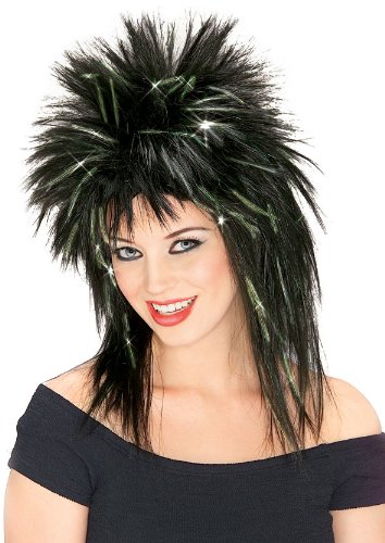 Rubie's Spiky Superstar Wig with Tinsel, Black/Green, One -