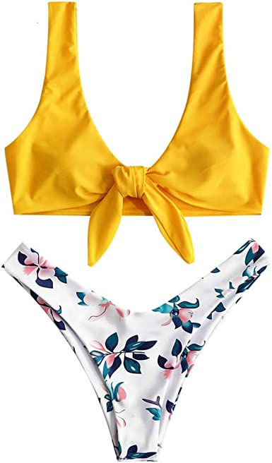 ZAFUL Damen Bikini-Set Geblumtes Bikini Set mit Schn/ürung Push Up Gepolsterte Bademode