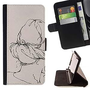 Momo Phone Case / Flip Funda de Cuero Case Cover - Arte retro Dibujo vintage - HTC One M7