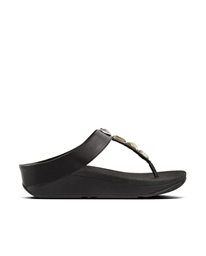 2eb94c9cb7bd FitFlop Women s ROKA Toe-Thong Sandals-Leather Flip-Flop Black 10 ...