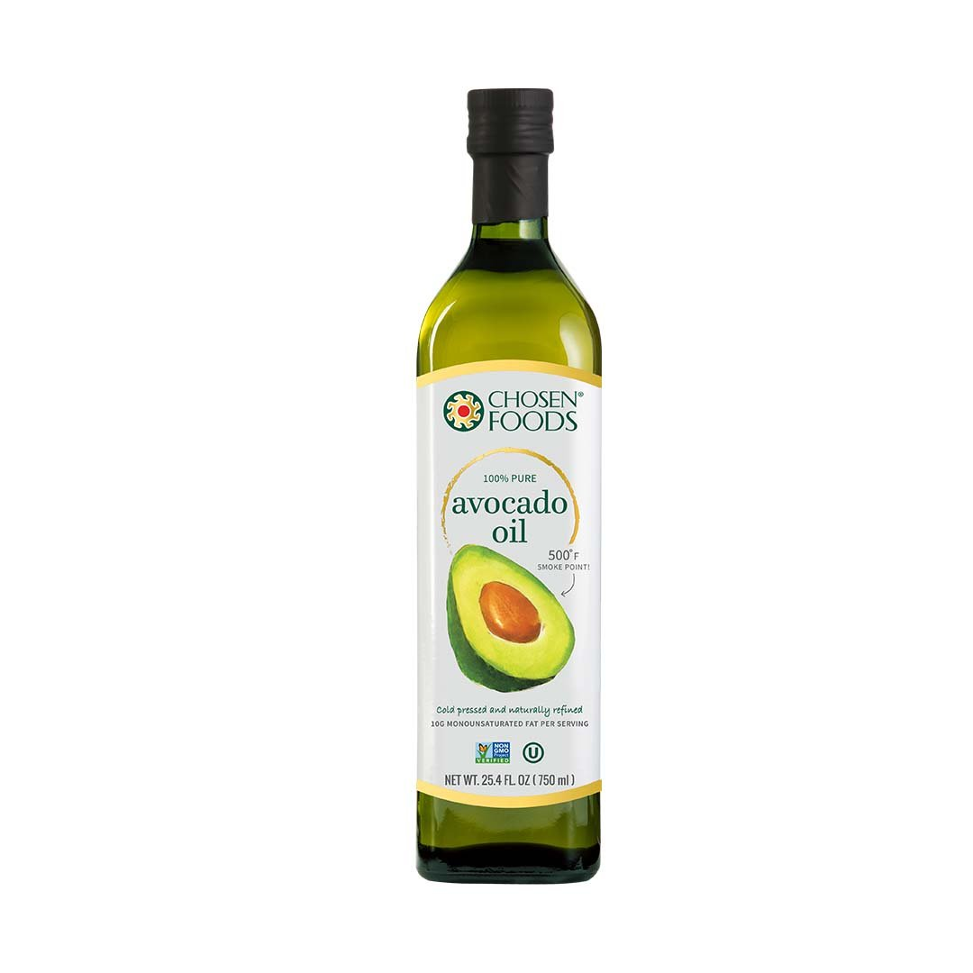 Chosen Foods 100% Avocado Oil Gold Label 25.4 oz, Non-GMO, for High-Heat Cooking, Frying, Baking, Homemade Sauces, Dressings and Marinades