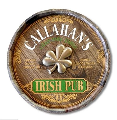(A Simpler Time Irish Pub Personalized Barrel End Bar Sign)