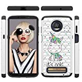 Moto Z3 Play Case 2018 [Soft TPU Skin + Hard PC Shell} Luxury Diamonds Two Layer Protective Cover Shock Absorption Bumper Anti-Scratch Shell Skin for Motorola Moto Z3 Play by Edauto (Unicorn)