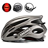 KINGBIKE Adult Bike Helmet Ultralight with Bicycle Helmets Rain Cover and Safety Rear Led Light Visor for Men Women Cycling Biking(Titanium) Review
