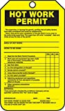 Accuform TCS372PTP RP-Plastic Confined Space Tag, Legend''Hot Work Permit'', 5.75'' Length x 3.25'' Width x 0.015'' Thickness, Black on Yellow (Pack of 25)