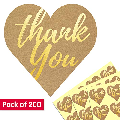1.5 Heart Gold Embossed Kraft Thank You Sticker Labels - Pack of 200