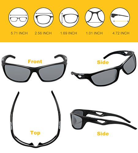 c48db9b7ab9 Tsafrer Unisex Polarized Sports Sunglasses for Men Women Cycling Driving  Running Golf Tr90 Frame