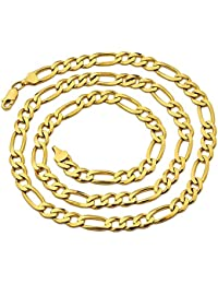 14K Yellow Gold 6.5mm Solid Figaro Chain Necklace, Available in 16 to 30 inches