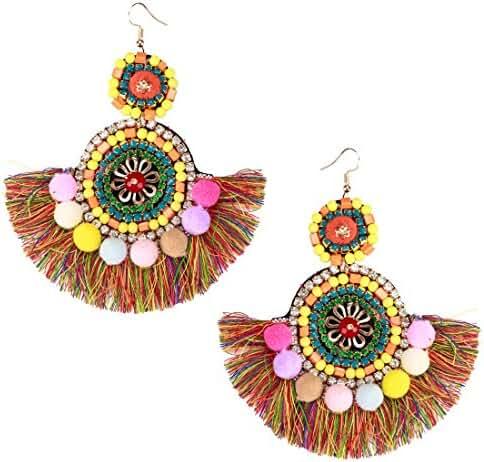 3style Bohemian Handmade Colorful Big Long Fringed Tassel Chandelier Drop Dangle Earrings for Women Girls