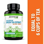 Vegan Green Tea Extract with EGCG & Vitamin C - Antioxidant & Immune Supplement - Metabolism Booster for Weight Support - for Skin & Heart Health + Brain & Memory Boost - 120 Count