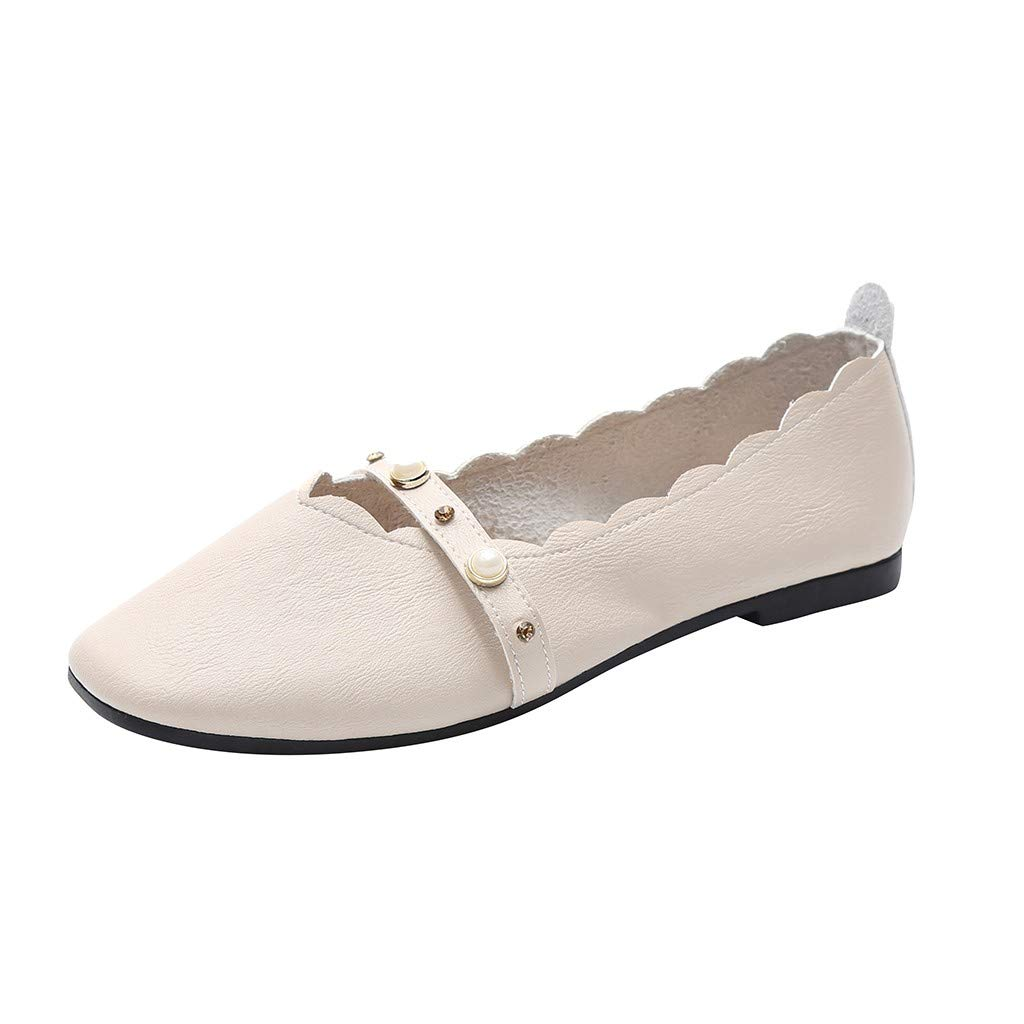 VonVonCo Women's FashionLadies Crystal Pearl Bling Shallow Single Flat Round ToeShoes Beige