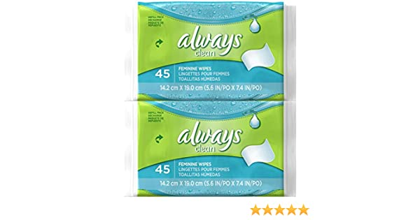 Amazon.com: Always Feminine Wipes Refill Pack - 45 ct - 2 pk: Health & Personal Care