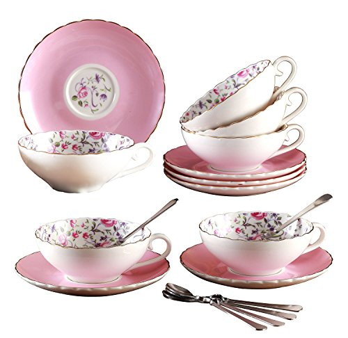 Jusalpha Elegant Porcelain Tea Cup and Saucer Set-Coffee Cup Set with Saucer and Spoon FD-TCS10 (Set of 6, Pink)