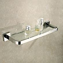 KES Lavatory Tempered Glass Shelf Wall Mount Polished Stainless Steel Holder, A2620