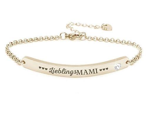 niedrigster Rabatt 100% authentisch weit verbreitet Silvity Damen Muttertag Gravur-Armband Edenlstahl veredelt mit einem  Swarovski¨ Kristall 16,5 cm bis 20,5 cm Farbe: Silber/Rosegold