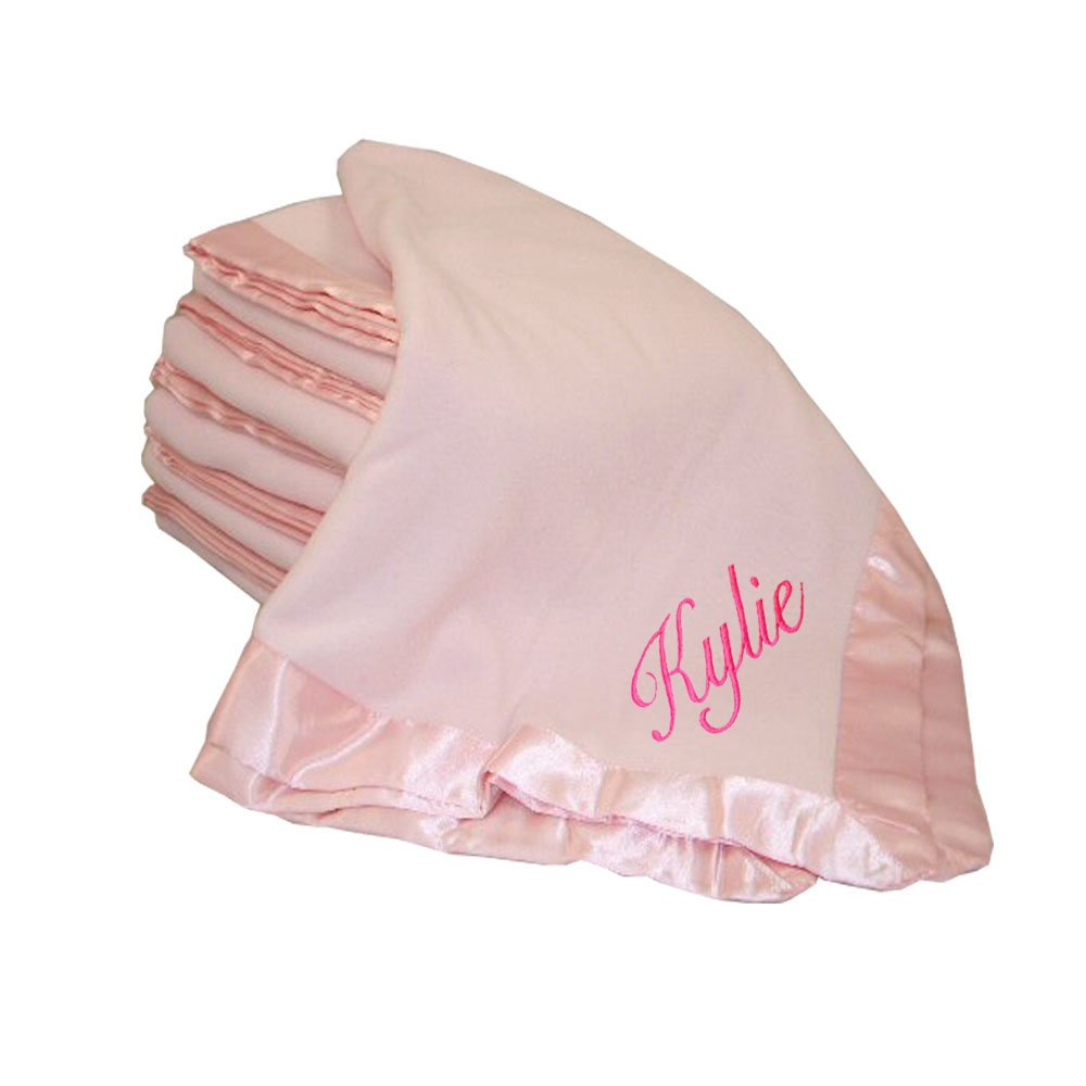 Custom Embroidered Monogrammed Name Pink Fleece Personalized Baby Blanket