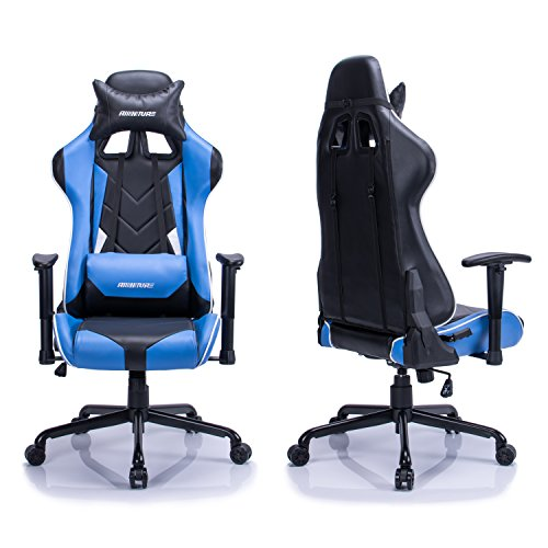 aminiture big and tall high back racing gaming chair blue recliner pu leather swivel desk. Black Bedroom Furniture Sets. Home Design Ideas