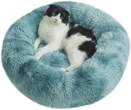 cat Bed Dog Bed Calming Dog Bed Comfortable Donut Cuddler Round Dog Bed,Cat Cushion Bed Ultra Soft Washable,Waterproof Bottom Round Dog Bed for Cats and Small Dogs