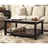 Vintage Casual Rustic Design Wood Coffee Cocktail Accent Table in Espresso Finish Includes Modhaus Living (TM) Pen
