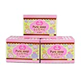 3 Bars Jellys Pure Soap Whitening Soap Vitamin E White Aura Reduce Dark Spot Anti Aging
