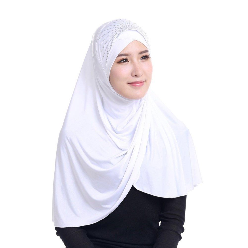Muslim Hijab Head Scarf Ice Silk Headwear Floral Kids Amira Hijab Islamic Head Wrap for Age 2-6 Years Girls