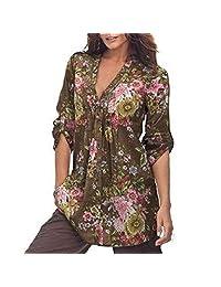 kingfansion - Womens Shirts Floral Print Tunic Shirt Plus Size Loose Tops