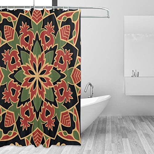 72x72 Inch Luxury Bath Blackout Curtains, Bohemian Indian Mandala Dark Ethnic Glaze Hippie Psychedelic Gypsy Art Shower Curtain Set with 12 Metal Grommet Holes Waterproof/Washable/No Smell