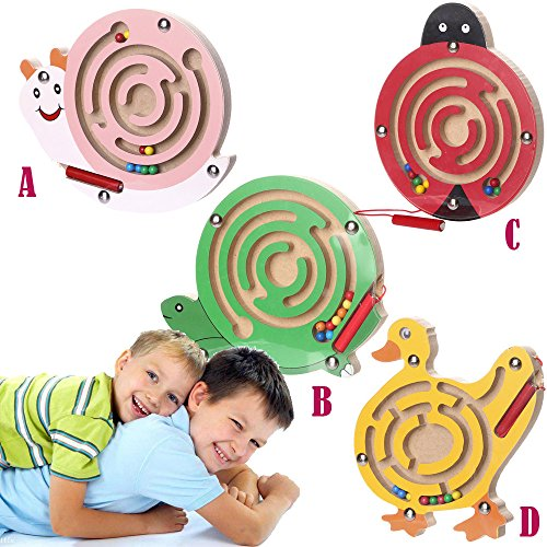 Price comparison product image Dressffe Magnetic Maze Toys,  Kids Magnetic Maze Toys Kids Wooden Game Toy Wooden Intellectual Jigsaw Board (C)