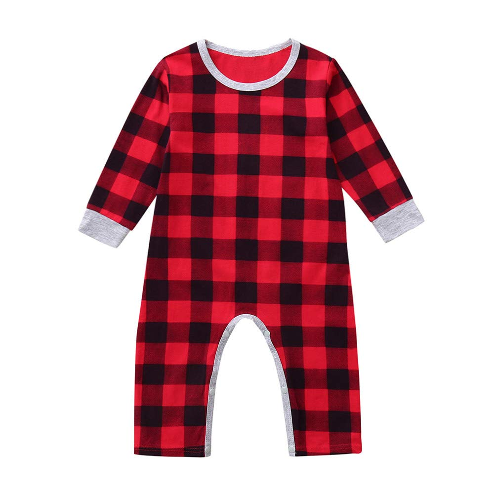 Christmas Infant Clothes Baby Boys Girls Santa Letter Plaid Romper Jumpsuit Outfits (0-6 Months, Red) Fdsd