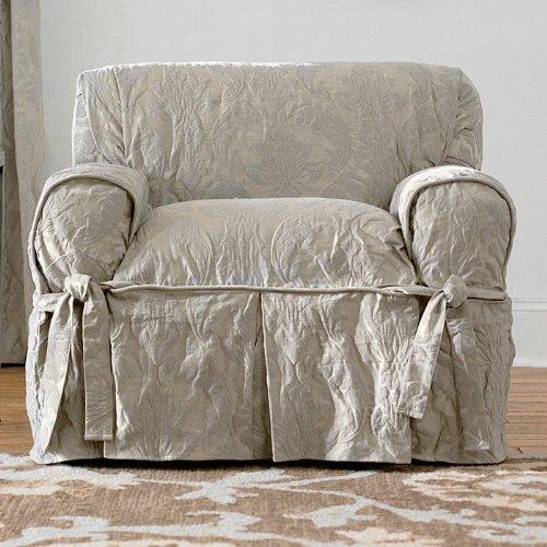 Sure Fit Matelasse Damask 1-Pc Chair-White