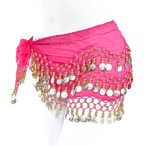 Lilyy Chiffon Dangling Gold Coins Belly Dance Hip Skirt Scarf Wrap Belt (Rose Red) (Scarf Coin Belt Belly Dance)
