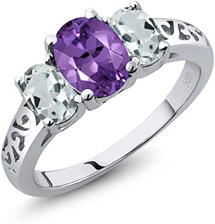 2.41 Ct Oval Amethyst and Sky Aquamarine Sterling Silver 3-Stone Ring (Available in size 5, 6, 7, 8, 9)