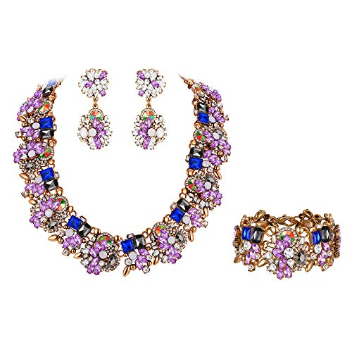Flyonce Women's Vintage Statement Costume Choker Chunky Necklace Earrings Bracelet Jewelry Set for Banquet,Prom Purpl,e
