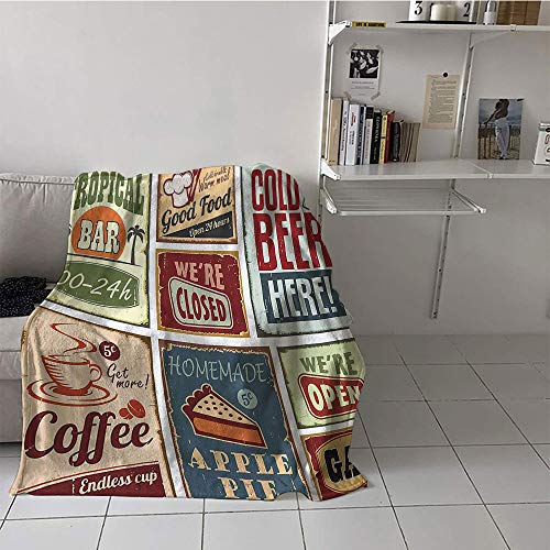 Khaki home Children's Blanket Soft Plush Throw Blanket (70 by 90 Inch,1950s Decor Collection,Vintage Style Signs Advertising Beverage Coffee Drink Aged Glass Tropical Logo Print,Burgundy Ivory]()