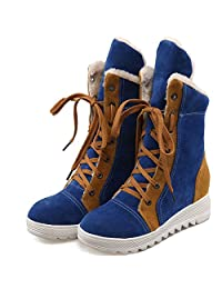 DoraTasia Women's Faux Fur Suede Nubuck Lace up Platform boots