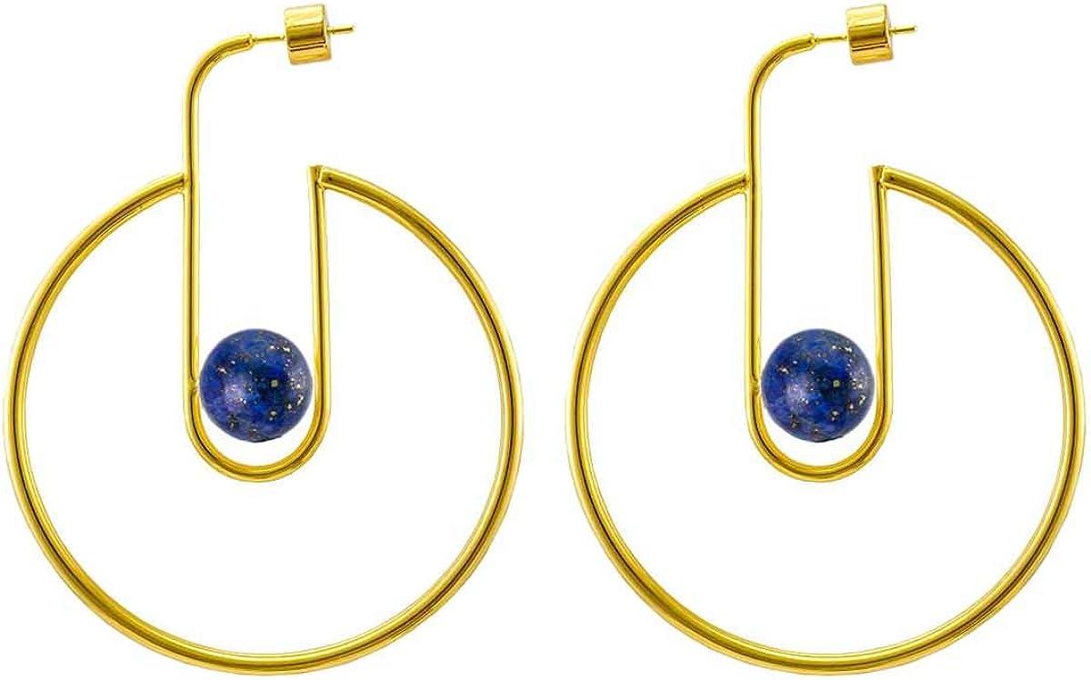 CUHAWUDBA Pendientes de Aro con Pu?o Abierto Chapado en Oro Pendientes de Poste de Perlas con Piedras Preciosas Pendientes Minimalistas para Mujeres(Oro en Forma de C Grande & Lapislázuli)