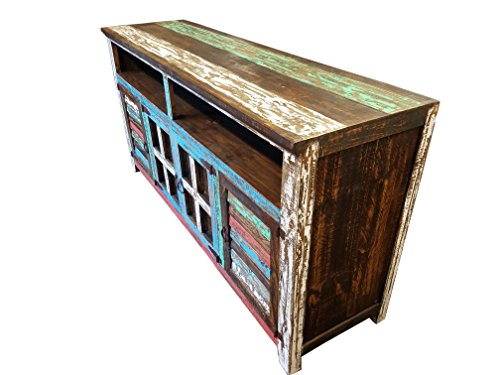 Hiend 72 Inch Rustic Western Multicolor Antique Distressed Reclaimed Wood Look TV Stand Solid Wood Already Assembled (72 inches)