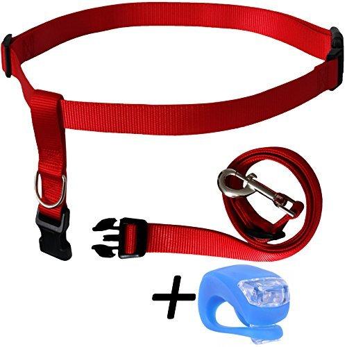 Red Running Dog Leash Hands Free Including LED Light. Great for Walking, Running, Biking and Jogging (Black, Red, bluee, orange, Pink)). (Red)