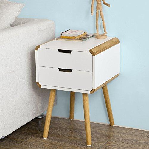 SoBuy® Beistellschrank,Nachttisch aus MDF und Bambus in weiß mit zwei Schubladen im modernen Retro-Design,FRG146-WN